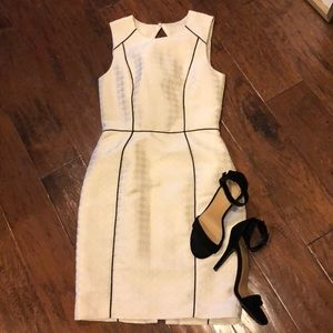 H&M Ivory Houndstooth Dress with Black Piping